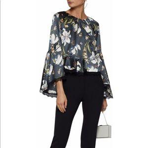 CINQ À SEPT Avalon lace-trimmed floral silk top